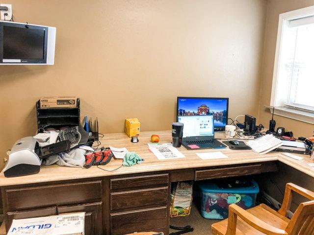 Office desk decor before